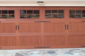 wood garage door with windows